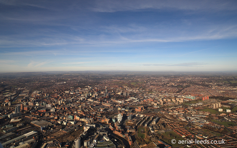 panoramic aerial photo of Leeds